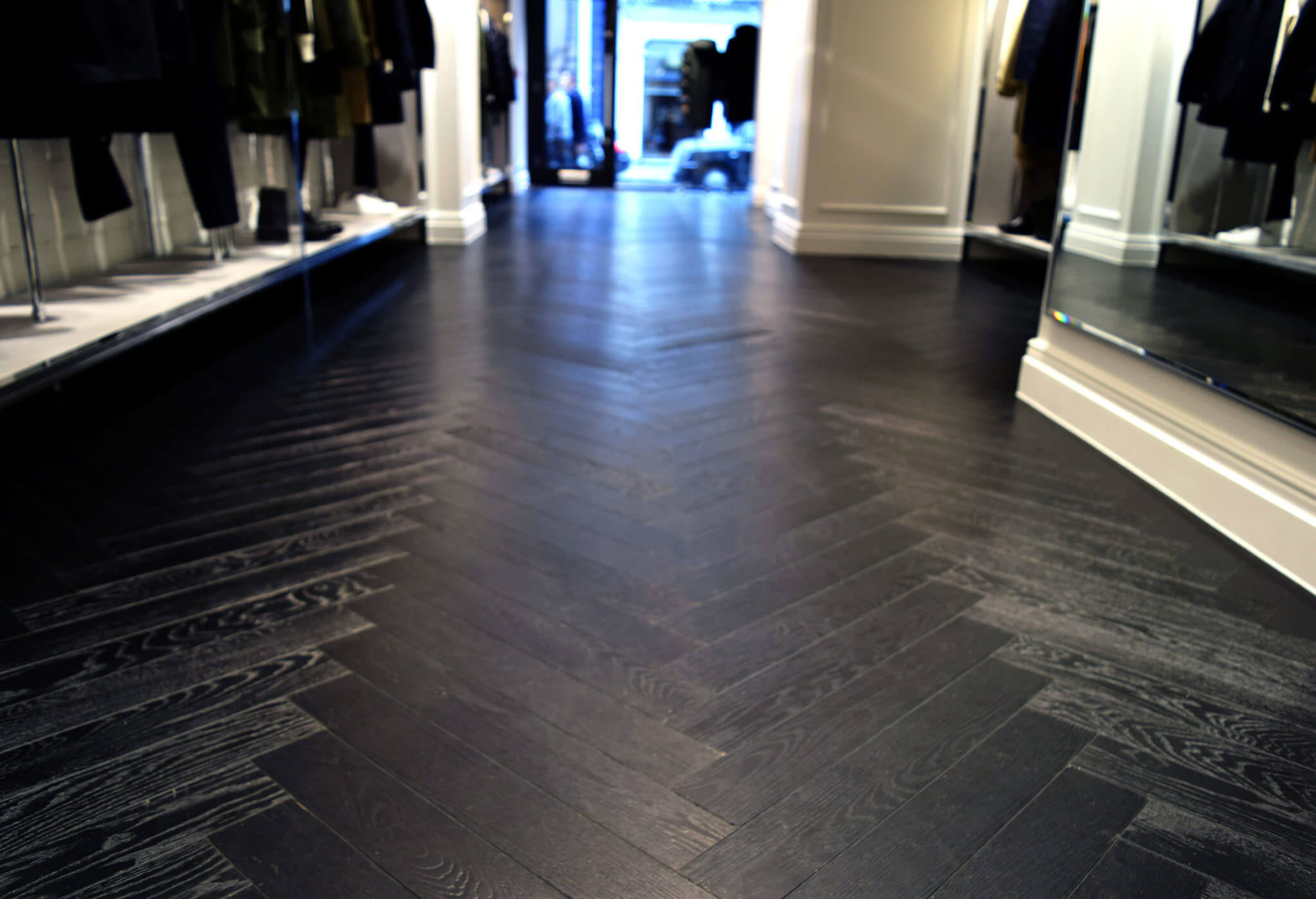 black painted herringbone