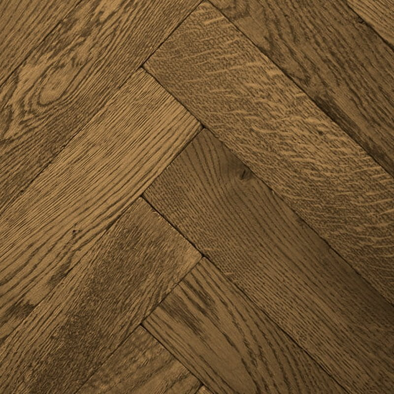 Roasted Honey finish solid oak tumbled Herringbone Flooring