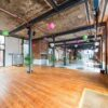 reclaimed pitch pine wood flooring at Paintworks project