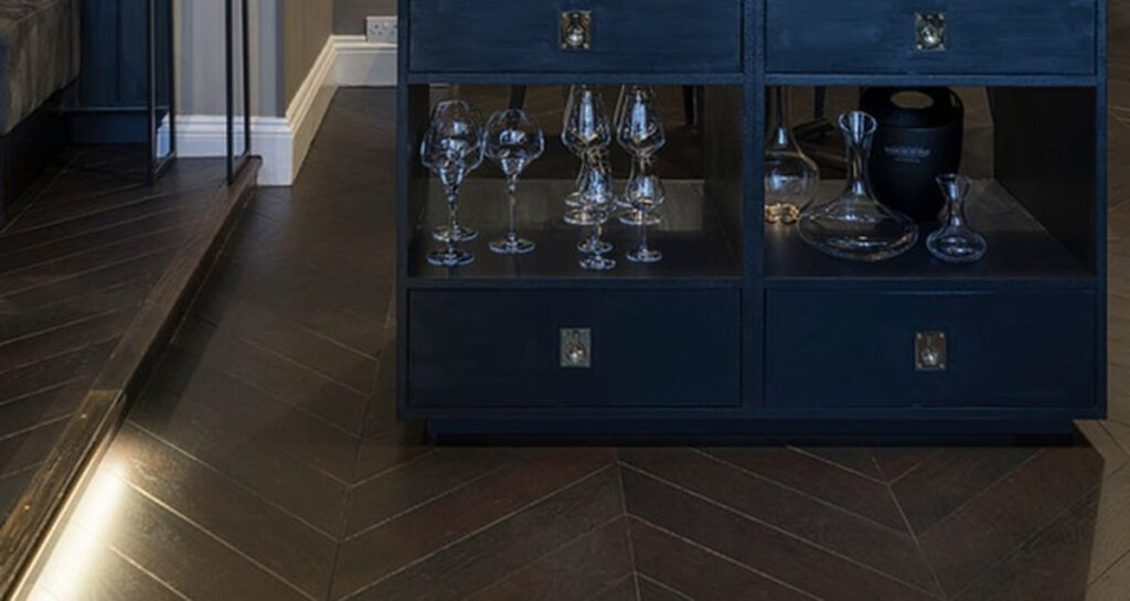 Midnight Brown Engineered Chevron Oak - Wood Flooring Project