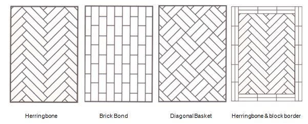 picture showcasing different laying patterns of parquet