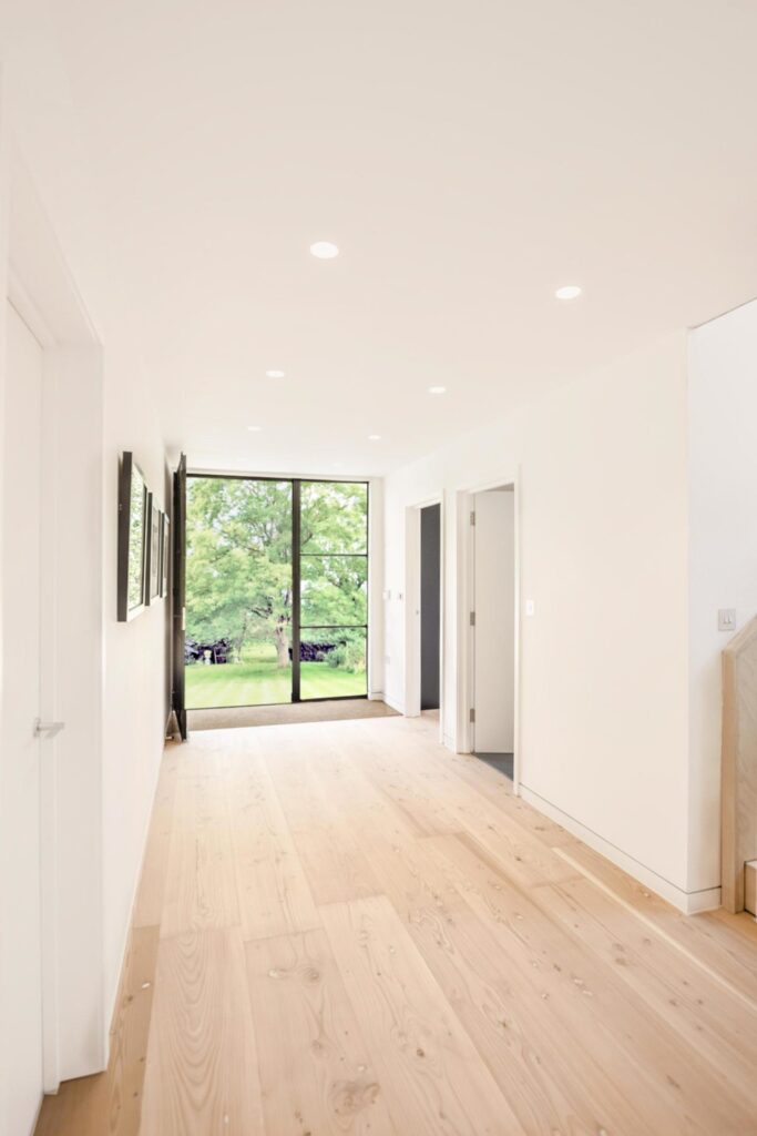 douglas fir flooring in hallway