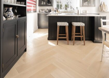 Dream White Herringbone Oak Flooring - Wood Flooring Project