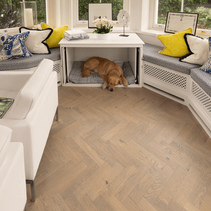 Light Engineered Herringbone Flooring