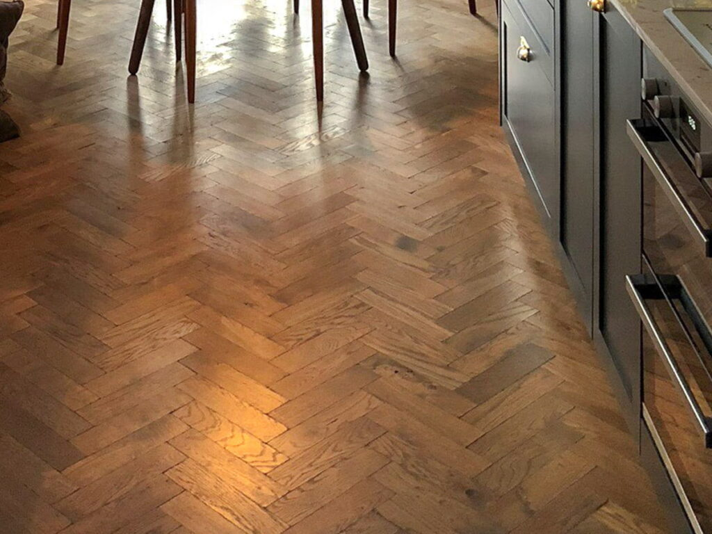 Cornish Slate Tumbled Solid Herringbone Oak - Wood Flooring Project