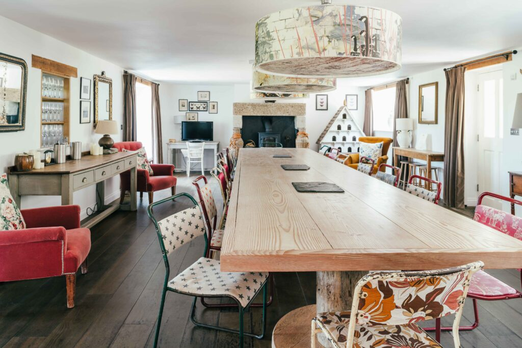 Deep Smoked engineered oak planks at Tregulland Cottage and Barn