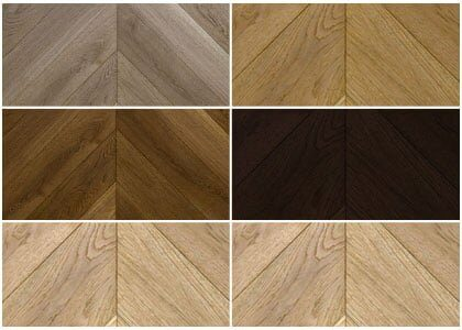 Finishes available for engineered oak Chevron