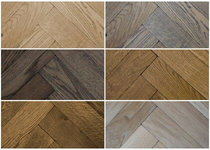 Finishes available for Chaunceys Tumbled solid oak Herringbone blocks