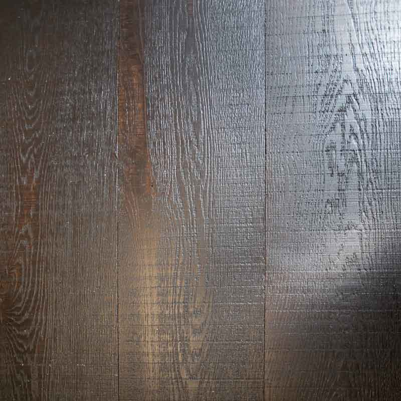 Dark rough sawn & brushed flooring