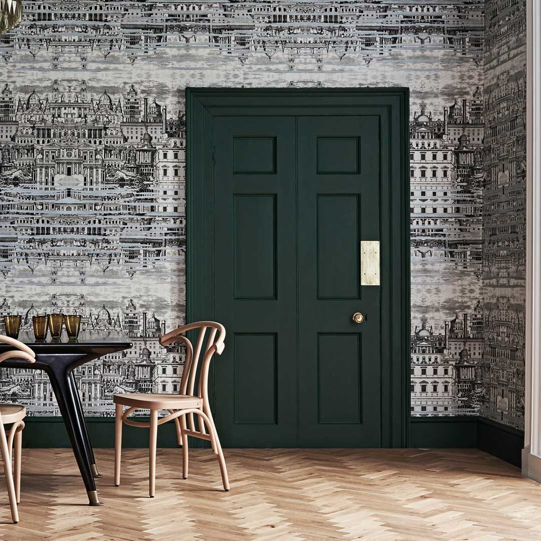 Herringbone dining room wallpaper