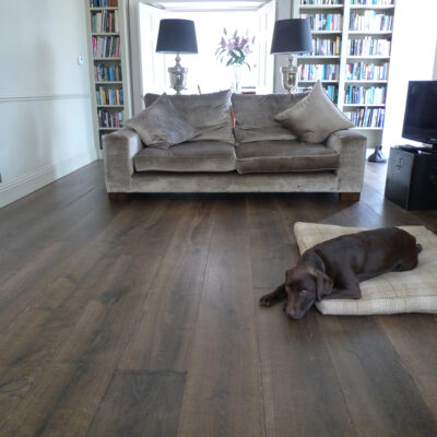 Dog Lying On Dark Regency Grey oak Wood Flooring