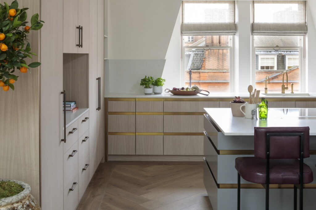 Deep Smoked White Oiled engineered oak Herringbone wood flooring at Pont Street Penthouse project