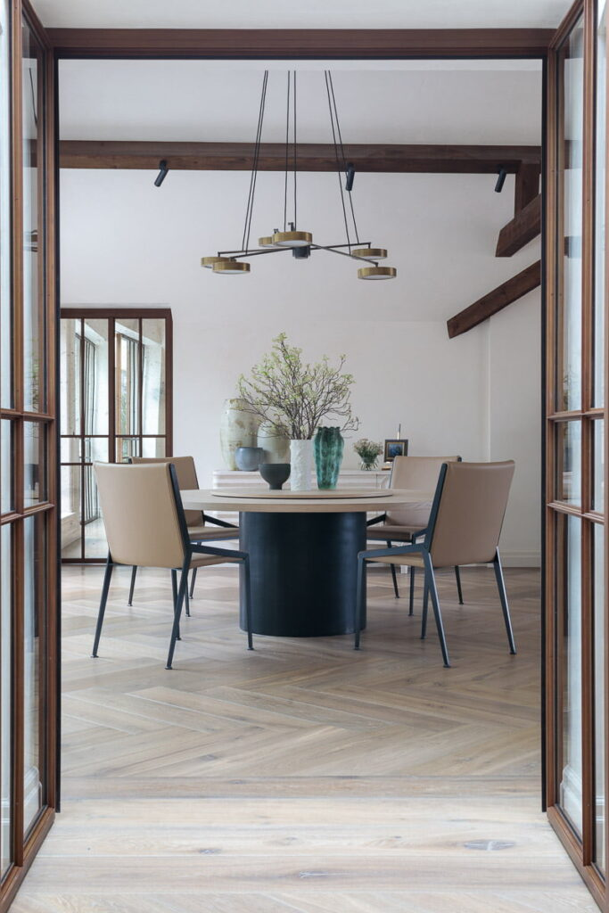 Dining room with Deep Smoked White Oiled engineered oak planks and Herringbone wood flooring at Pont Street Penthouse project