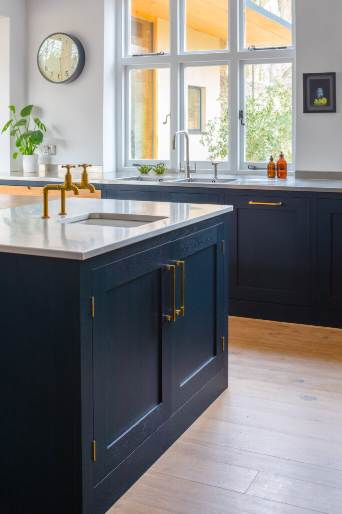 Reclaimed Victorian Oak wood flooring in Eco extension kitchen project