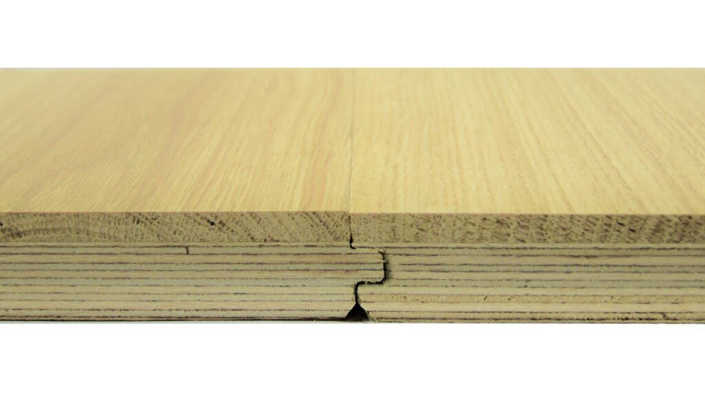 Square Edge profile on Engineered Oak floorboard