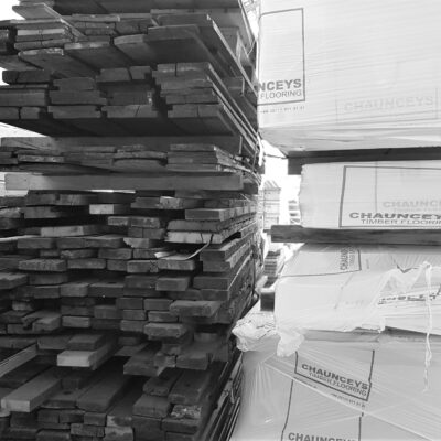 Timber flooring stacked in a warehouse