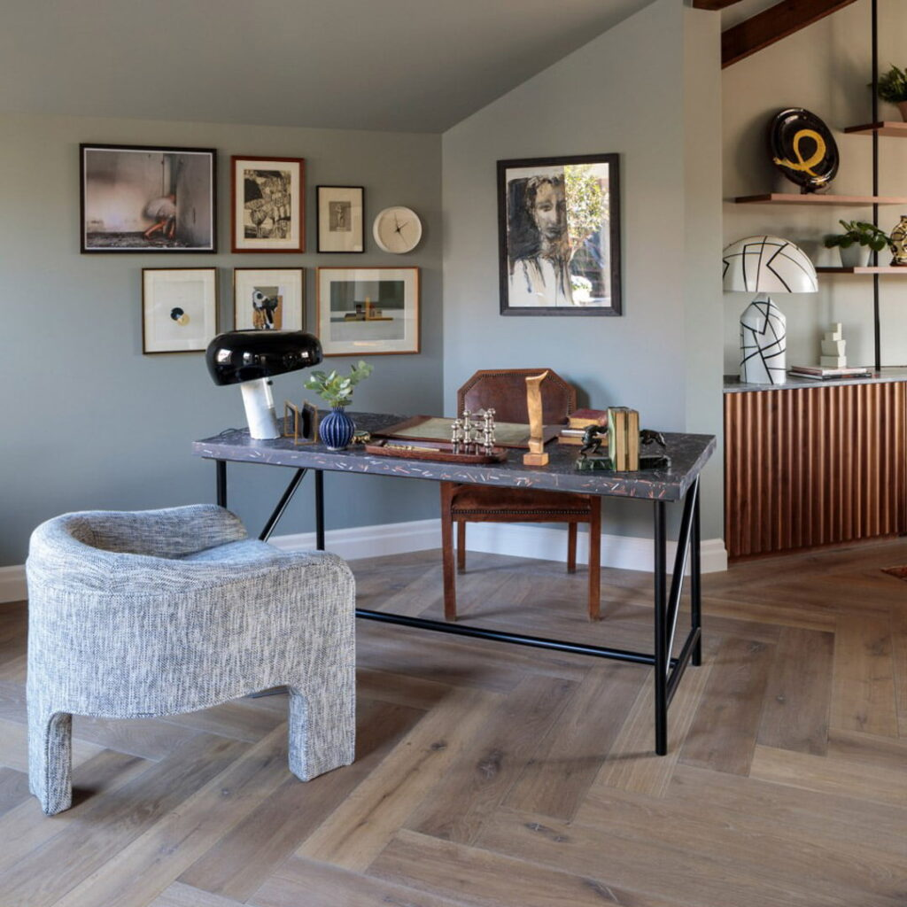 Double Smoked White oiled oak Herringbone flooring in Pont Street Penthouse project