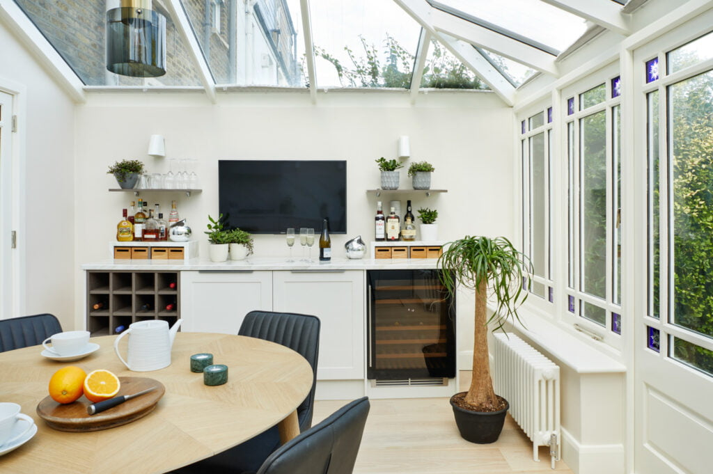 Chaunceys engineered Oak flooring with Linen finish at Wimbledon Conservatory project