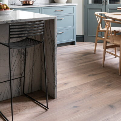 Double Smoked and White Oiled engineered oak wood flooring at Argyll Road kitchen project