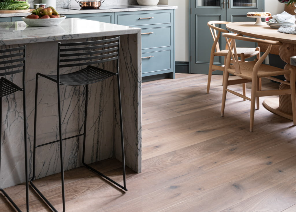 Double Smoked White Oiled engineered wood flooring in kitchen