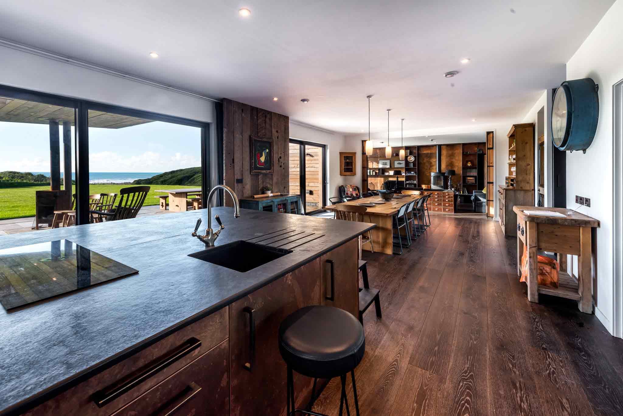 Deep Smoked Heavy Brushed engineered oak planks at Barford Beach House in Cornwall