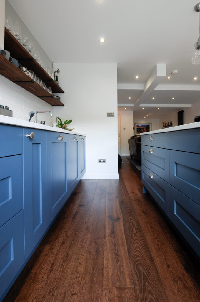 Thermo Baked engineered oak wood flooring in kitchen